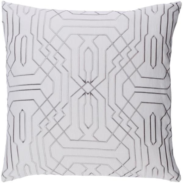 Hermance Gray Geometric Polyester 18 in. x 18 in. Throw Pillow