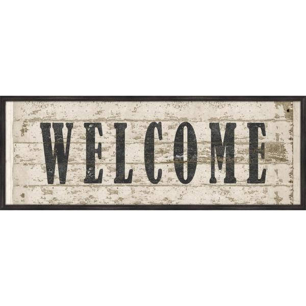 Melissa Van Hise Welcome Wood Sign Framed Giclee Typography Art Print 42 In X 16 In Ip25482 The Home Depot