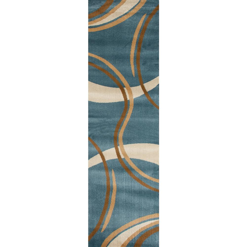 Rug Runners Contemporary: Contemporary Modern Wavy Circles Blue 2 Ft. X 7 Ft. Indoor