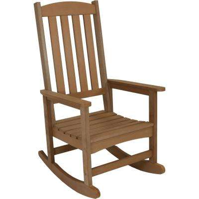 All-Weather Brown Traditional Plastic Patio Rocking Chair