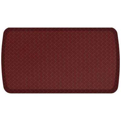Elite Basketweave Cranberry 20 in. x 36 in. Comfort Kitchen Mat