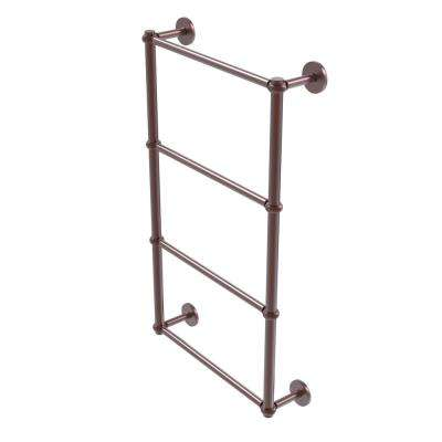 Prestige Skyline Collection 4-Tier 24 in. Ladder Towel Bar with Twisted Detail in Antique Copper