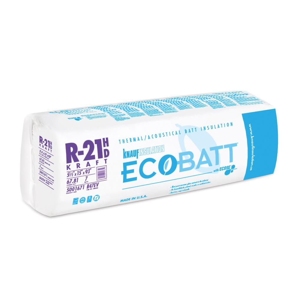 Knauf Insulation R-21 Kraft Faced Fiberglass Insulation Batt 15 in. x 93 in.