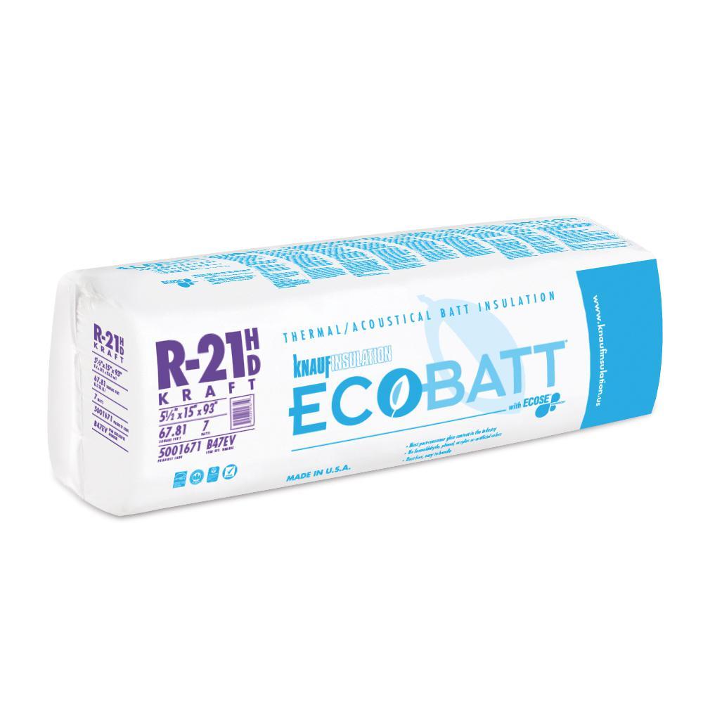 R-21 Kraft Faced Fiberglass Insulation Batt 15 in. W x 93 in. L