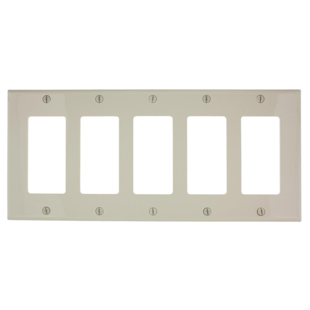 5-Gang Decora Nylon Wall Plate, Light Almond