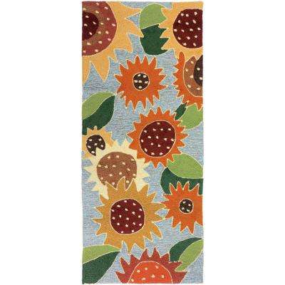 Sunflower Impression Gold 2 ft. x 5 ft. . Indoor/Outdoor Runner Area Rug