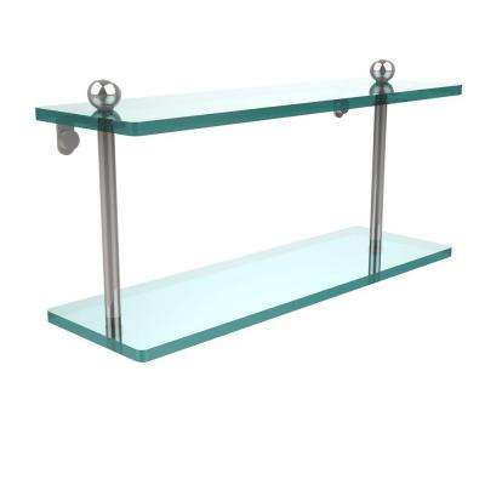 16 in. L x 8 in. H x 5 in. W 2-Tier Clear Glass Bathroom Shelf in Polished Chrome