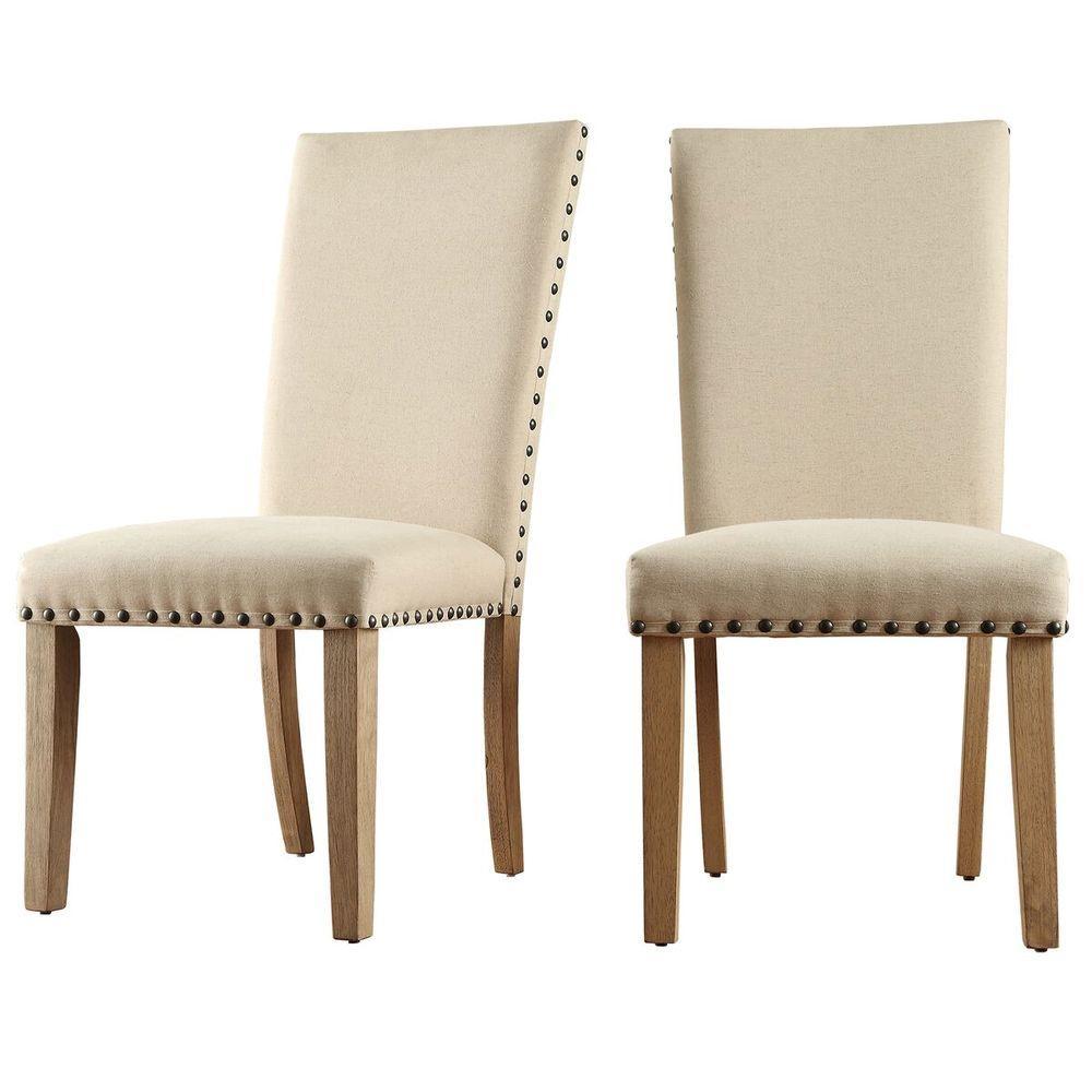 HomeSullivan Upton Beige Linen Dining Chair Set