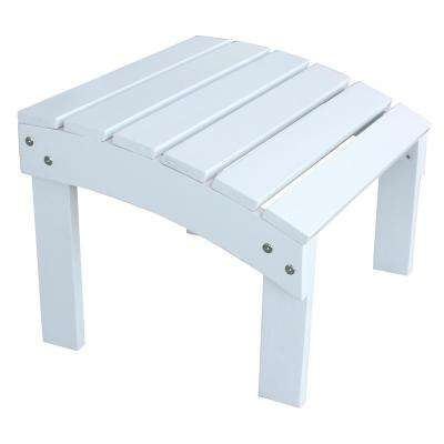White Wood Outdoor Ottoman Footrest with Painted