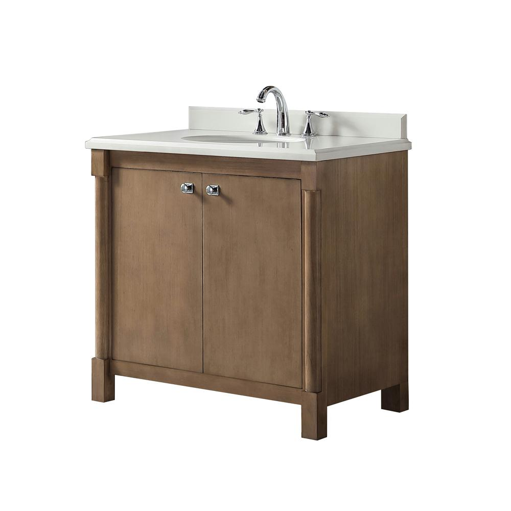 Martha Stewart Living Breton 36 in  W x 22 in  D Vanity in Almond Toffee  with Marble Vanity Top in White with White Basin