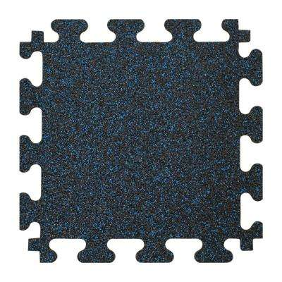 Black with Blue Flecks 37 in. x 56 in. x 8 mm Rubber Weight Room Tiles (14.32 sq. ft. / case)