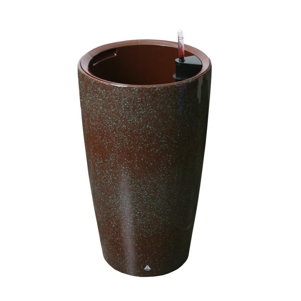 Modena 22 in. Brown Granite Round Self-Watering Plastic Planter