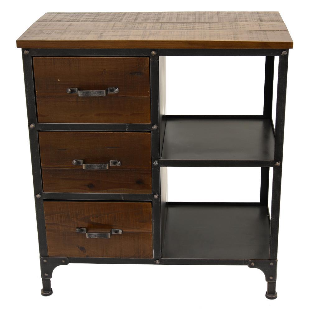 26.25 in. x 13.25 in. Brown Metal/Wood Cabinet - 3-Drawers