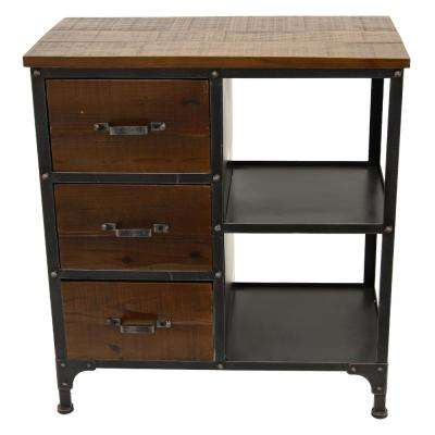 26.25 in. x 13.25 in. Brown Metal/Wood Cabinet - 3-Drawers