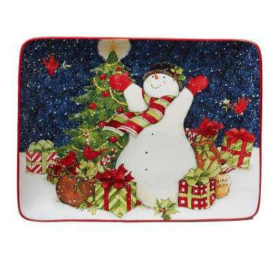 Starry Night Snowman by Susan Winget 16 in. Rectangular Platter