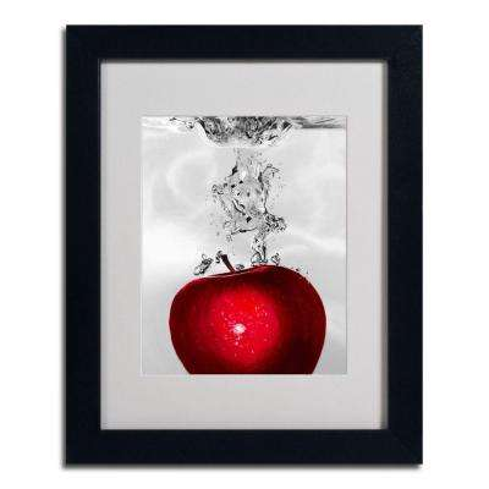 11 in. x 14 in. Red Apple Splash Black Framed Matted Art