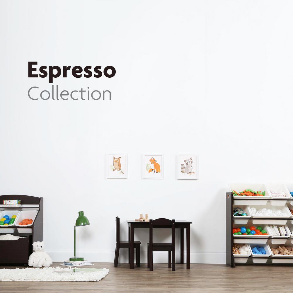 Espresso Collection Espresso/White 3-Tier Storage Organizer with Rolling Toy Box