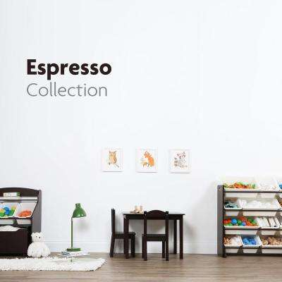 Espresso Collection Espresso/White 3-Tier Storage Organizer with Rolling Toy Box