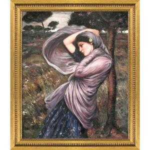 ''Boreas with Versailles Gold Queen'' by John William Waterhouse Framed Abstract Wall Art Oil Painting 25 in. x 29 in.