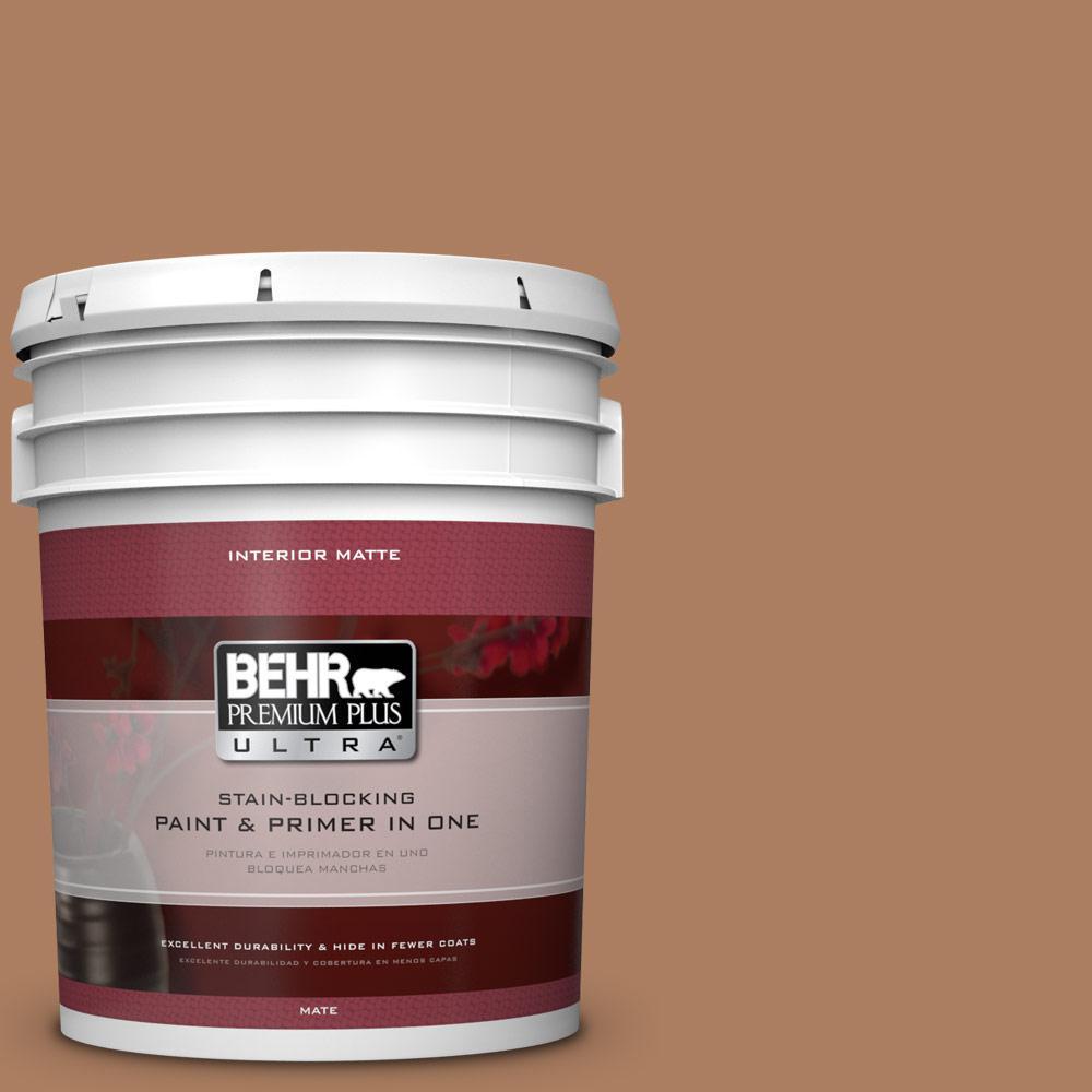 BEHR Premium Plus Ultra 5 gal. #S230-6 Burnt Toffee Matte Interior Paint