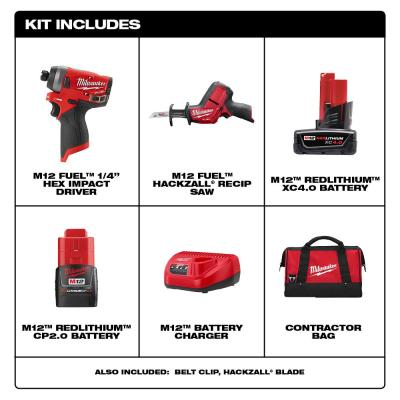 M12 FUEL 12-Volt Lithium-Ion Brushless Cordless Hackzall and Impact Driver Combo Kit (2-Tool) with 2-Batteries and Bag