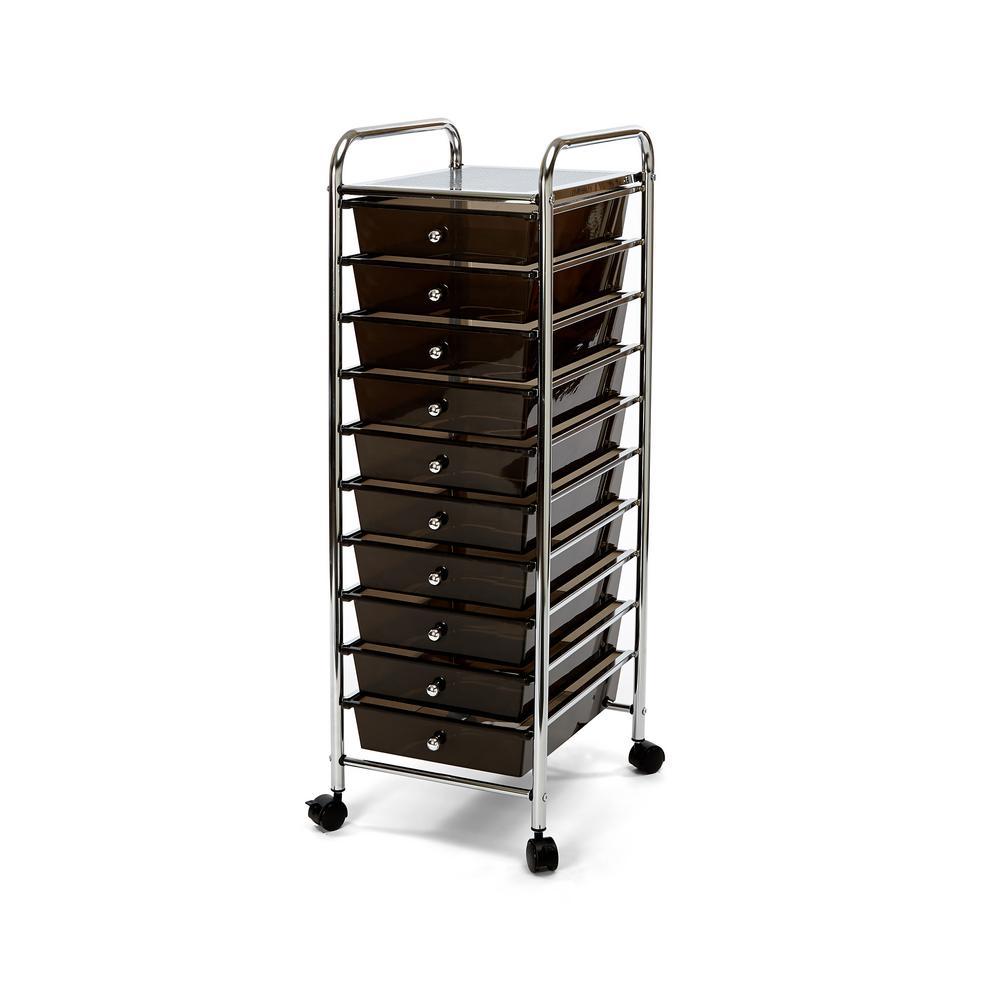 Black 10-Drawer Organizer Cart