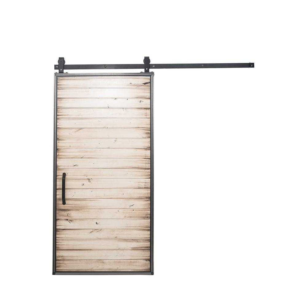 Bon Rustica Hardware 42 In. X 84 In. Mountain Modern White Wash Wood Barn Door
