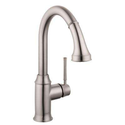 Talis C Single-Handle Pull-Down Sprayer Kitchen Faucet with Magnetic Spray Head Docking in Steel Optik