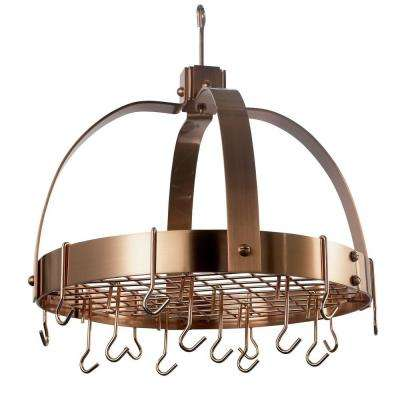 Old Dutch 20 in. x 15.25 in. x 21 in. Dome Satin Copper Pot Rack with Grid and 16 Hooks