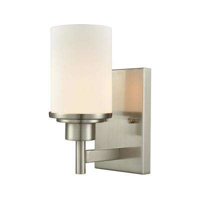 Belmar 1-Light Brushed Nickel With Opal White Glass Bath Light
