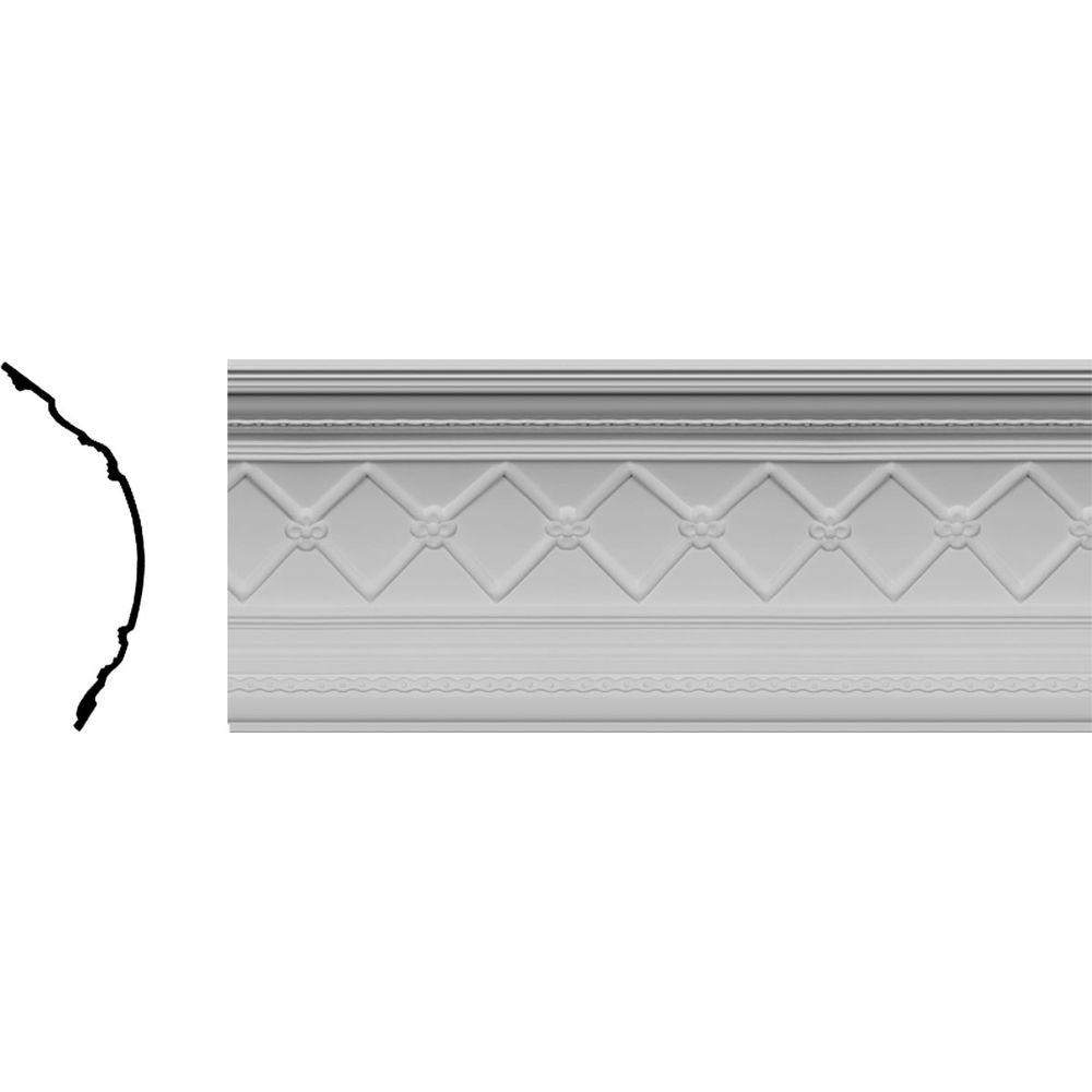 Ekena Millwork 16-3/8 in. x 18-1/4 in. x 96 in. Polyurethane Brightton Crown Moulding