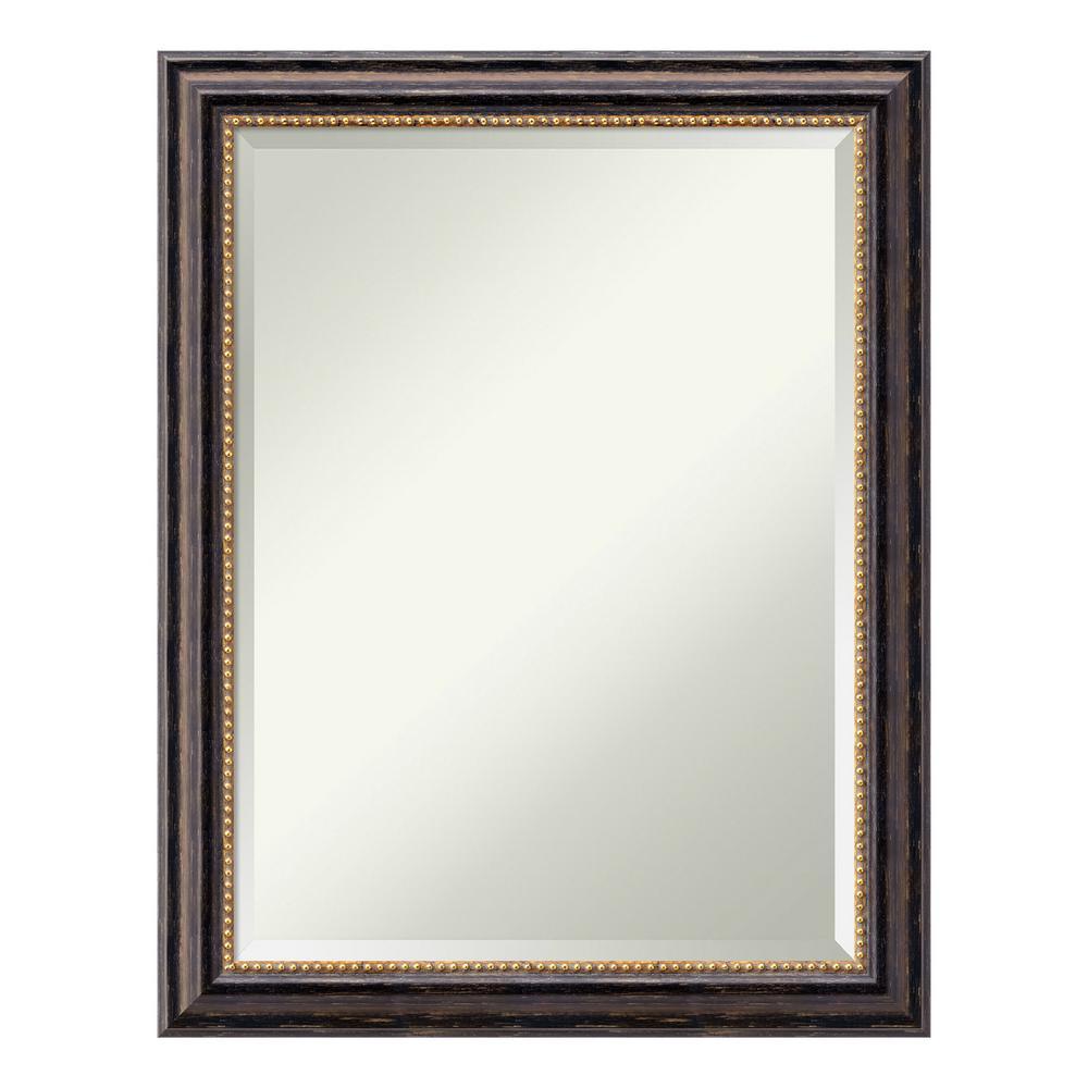 Tuscan 22 in. W x 28 in. H Framed Rectangular Beveled Edge Bathroom Vanity Mirror in Rustic Distressed Black
