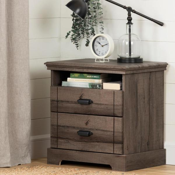 South Shore Avilla 2 -Drawer Fall Oak Nightstand 11907