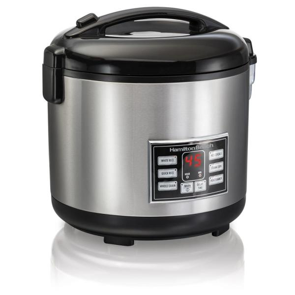20-Cup Stainless Steel Rice/Hot Cereal Cooker with Rice Rinser/Steam Basket