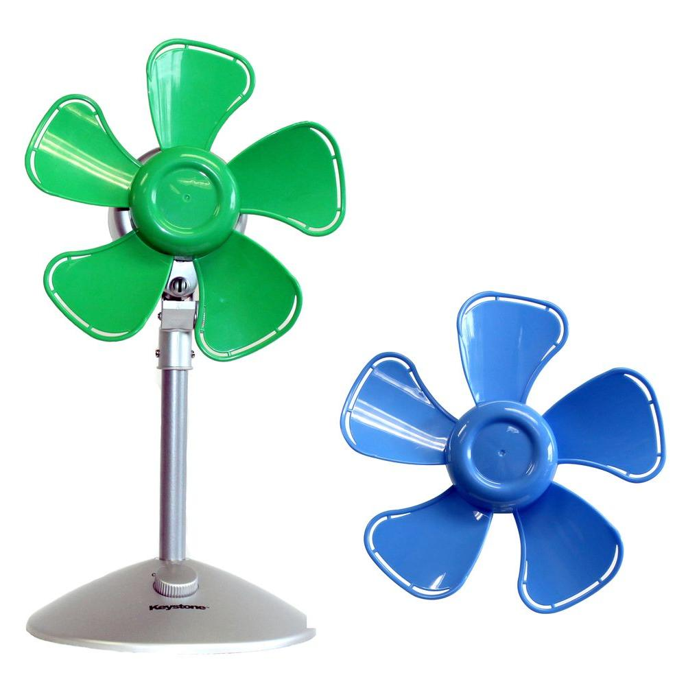 10 in. Flower Personal Fan with Interchangeable Blades in Blue and