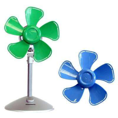 10 in. Flower Personal Fan with Interchangeable Blades in Blue and Green