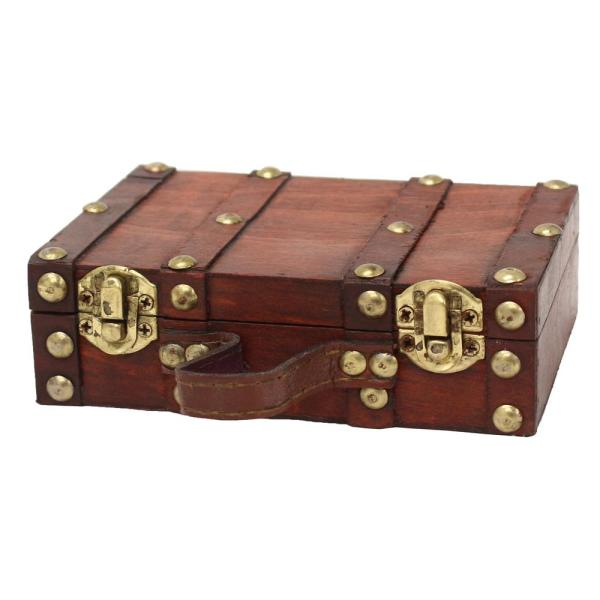 6.5 in. x 4.3 in. x 2 in. Wood and Faux Leather Antique Style Small Mini Suitcase