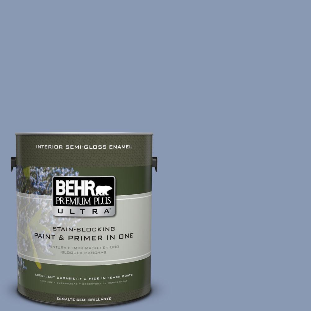 BEHR Premium Plus Ultra 1-gal. #600F-5 Blueberry Buckle Semi-Gloss Enamel Interior Paint