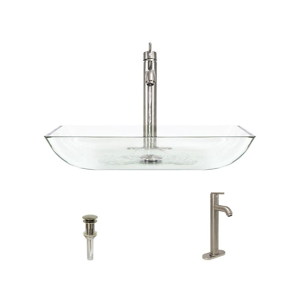 Glass Vessel Sink in Crystal with 718 Faucet and Pop-Up Drain