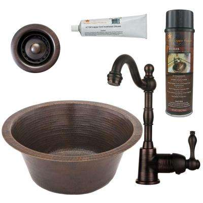 All-in-One Dual Mount Hammered Copper 16 in. 0-Hole Round Bar Sink in Oil Rubbed Bronze