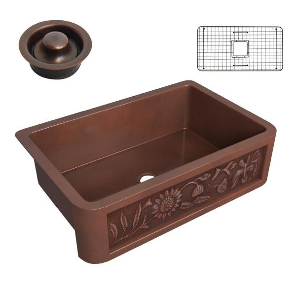 Anatolian Copper 33 in. 0-Hole Single Bowl Farmhouse Kitchen Sink with Sunflower Design Panel in Polished Antique Copper