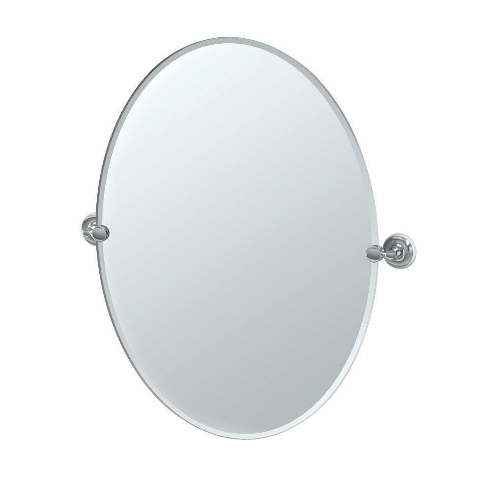 Designer 24 in. W x 32 in. H Frameless Oval Beveled Edge Bathroom Vanity Mirror in Chrome