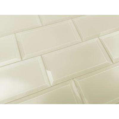 3 in. x 6 in. Frosted Elegance Cecillia Creme Matte Glass Peel and Stick Wall Tile Sample