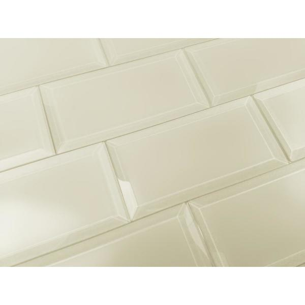 Frosted Elegance Creme Subway 3 in. x 6 in. Matte Glass Subway Tile (1 sq. ft.)