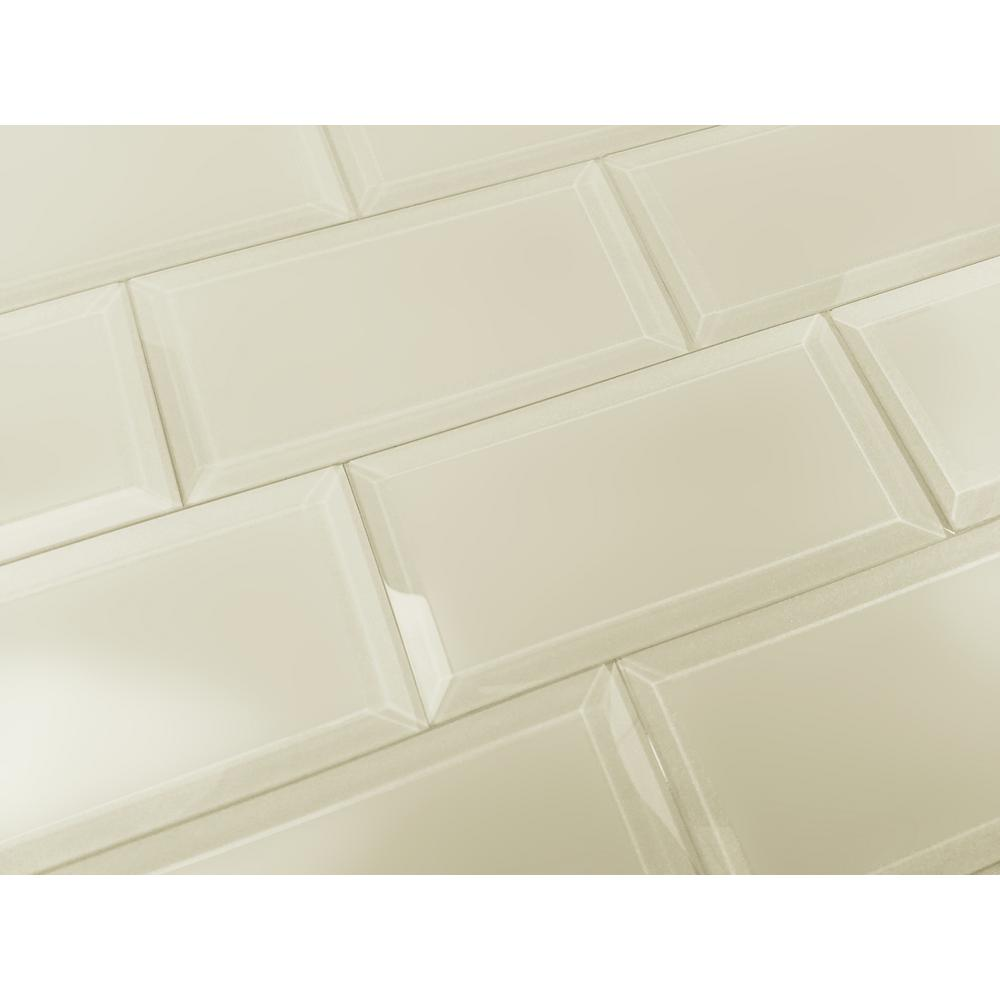 Beige Taupe Subway Rectangle 3'' x 6'' Matte Glass Peel &