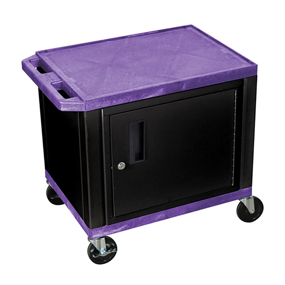 WT 26 in. A/V Cart with Black Cabinet, Purple Shelves