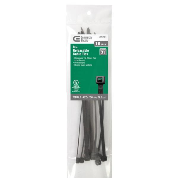 8 in. UV Releasable Tie - Black (10-Pack)