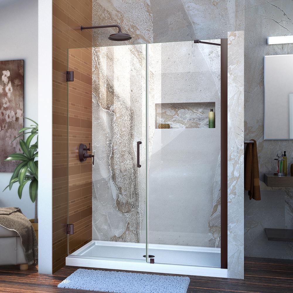 Unidoor 52 to 53 in. x 72 in. Frameless Hinged Shower Door in Oil Rubbed Bronze