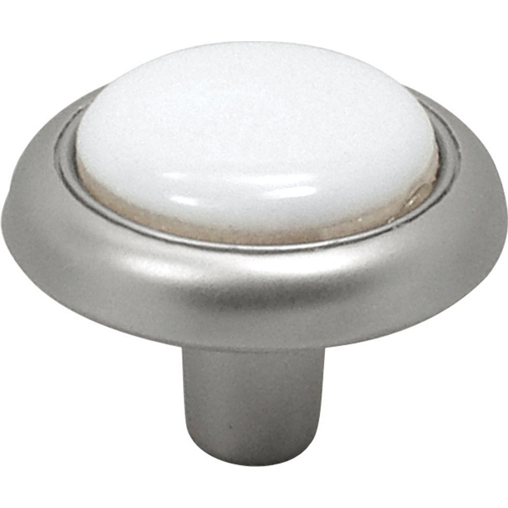 Hickory Hardware Tranquility 1-1/4 in. Satin Nickel/White Cabinet Knob