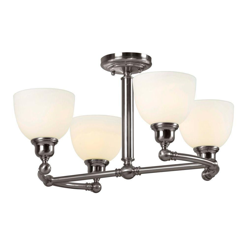 World Imports Amelia 4-Light Satin Nickel Semi Flush Mount